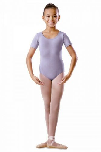 Bloch Girls Round Neck Short Sleeve Leotard Lilac Dance Ballet Uniform BU201C